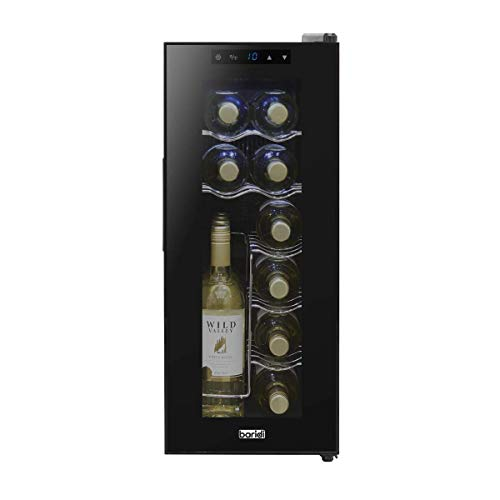 Baridi Wine Cooler/Fridge, Digital Touch Screen Controls, LED Light, Energy Class A, 12 Bottle - Black
