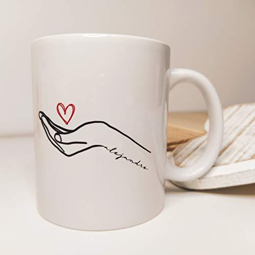 Taza personalizada mano corazón, románticas para parejas regalo San Valentín