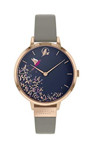 Sara Miller Chelsea Collection SA2022 Armbanduhr, rotvergoldet, graues Lederband
