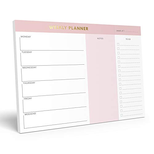 Sweetzer & Orange Weekly To Do List Notepad. Pink Gold Weekly Planner Pad with Daily Planner Agenda...