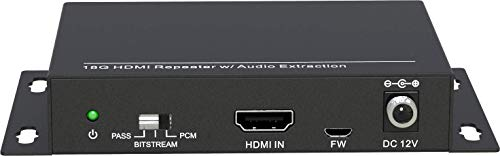 VivoLink HDMI de-embedder Separate Sound from HDMI, VL120008 (Separate Sound from HDMI 18G HDMI Repeater + Audio Out via RCA, Balanced Audio and Coax)