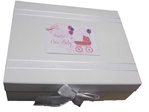 White Cotton Cards DTP2X Boîte à souvenirs pour landau Rose