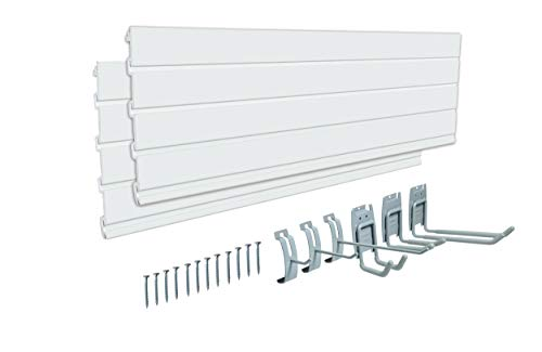 AA033 PVC 48 inch Slat Wall Panel,Track Wall Slat System For Garage Wall Storage with 6 Pieces Hooks for Tools and sports storage, 2 Pack