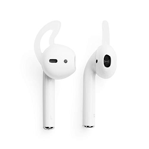 Insten Lightweight White Ear Hooks Compatible with AirPods, EarHooks Protective Silicone Hooked Earphone Cover Case Compatible with AirPods EarPods, Clear [1 Pair]