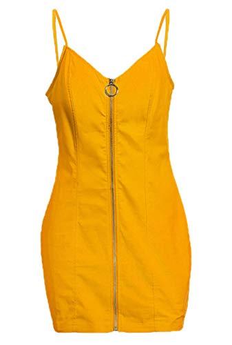 YMING Damen Sommerkleid Schlinge Figurbetontes Kleid Reißverschluss Vorne Mini Sexy Partykleid Gelb S/DE 36-38