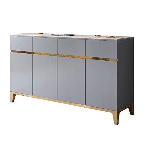 DXCSAA Sideboards Luxury Tea Cabinet, Simple Paint, Modern Storage Tea Cabinet, Living Room Wall-Mounted Home Tea Cabinet for Living Room (Color : Gray, Size : 1.5x0.4x0.9m)