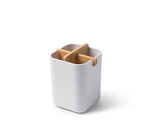 Lexon LH39W8 Pot pour Brosse à Dent, Bambou, Blanc, 8,4 x 8,4 x 10,5 cm