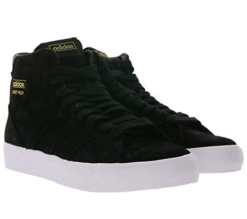 adidas Originals Basket Profi Basketball-Sneaker hohe Echtleder-Schuhe Turnschuhe Sport-Sneaker Schwarz, Größe:44