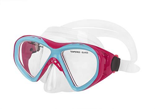 Kinder Schnorchelbrille Taucherbrille Schwimmbrille Tauchmaske für Mädchen, Jugendliche von 9-16 Jahren, Tempered Glas