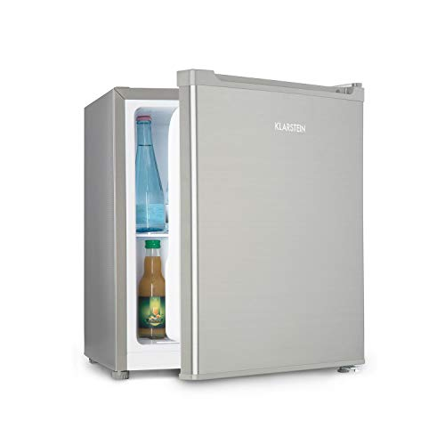 Klarstein Snoopy Eco - Mini-Kühlschrank mit Gefrierfach, 46 Liter Fassungsvermögen, 4 Liter Gefrierfach, 41dB leise, stromsparend, Edelstahl, silber