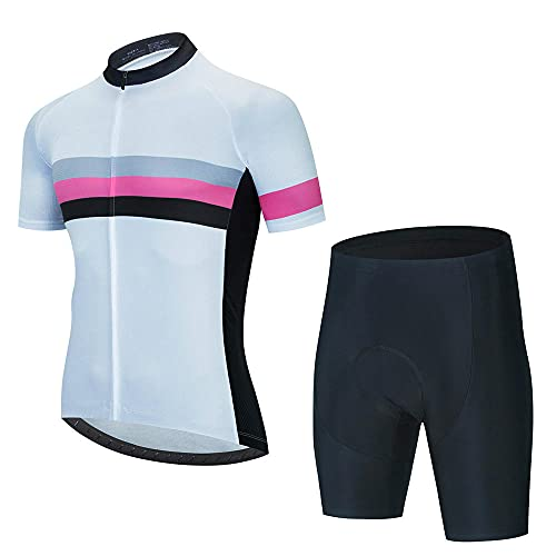 HXTSWGS Maillot Ciclismo Corto De Verano para Hombre,Summer Breathable Cycling Jersey Set Team Racing Jersey Sport Bicycle Shirt Pro Men Cycling Clothing-A02_3XL