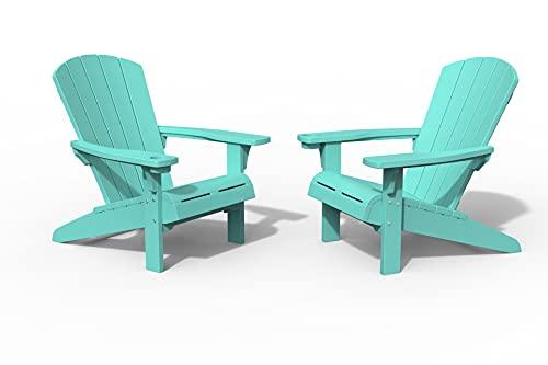 Keter Furniture Patio Chairs with Cup Holder Ideal für Strand, Pool und Feuerstelle, Kunststoff, blaugrün