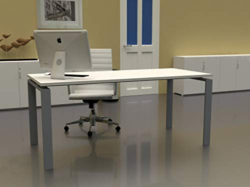 Mesa de Oficina con Estructura Abierta, de 180x80cm. FABRICACIÓN Nacional. Entrega de 3 a 7 dias. (Tablero Blanco, Estructura Gris Plata)