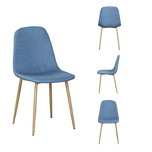 WV LeisureMaster - Set di 4 sedie da cucina in lino, seduta morbida, gambe in metallo, adatte per cucina, soggiorno, sala da pranzo e ufficio