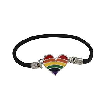 LGBTQ - Heart Rainbow Stretch Bracelet In a Bag  1 Bracelet - RETAIL