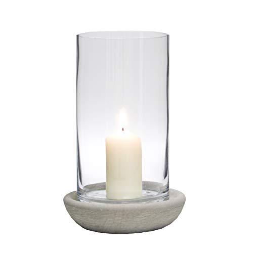Varia Living Windlicht Jade Basalit aus Glas und Basalitstein Vintage Shabby Chic Design | für innen oder im Garten | Farbe: grau | Kerzenleuchter im natürlichen Stil | Betonoptik (H 30 cm/Ø 20 cm)
