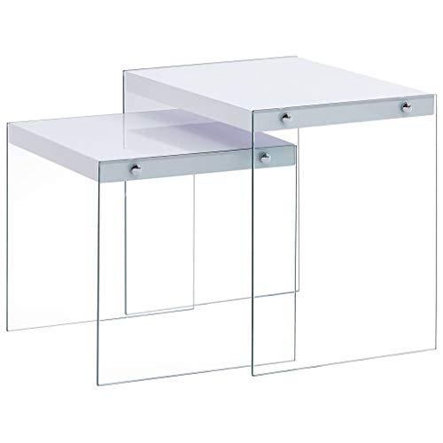 vidaXL 2X Satztisch Couchtisch Kaffeetisch Beistelltisch Sofatisch Wohnzimmertisch Wohnzimmer Tisch Tischset Weiß MDF Tischplatte Glas Beine