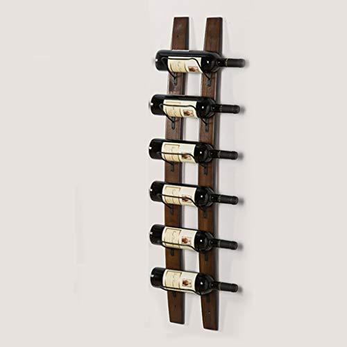 Botellero rústico apilable, Estante de vino montado en la pared de madera maciza, estante del armario de almacenamiento, salón Despensa Bodega Restaurante de decoración, 6 botellas de madera de pino n