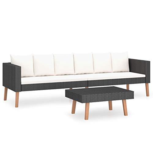 Tidyard Set de Muebles de Jardín 2 pzas y Cojines Sofá de 3 plazas con Mesa de Jardín Exterior Terraza Patio Ratán Sintético Negro