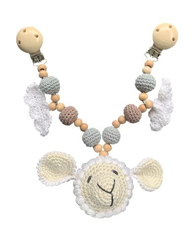 LOOP BABY - gehäkelte Kinderwagenkette Schaf Steffen für Mädchen & Junge - Kinderwagen-Spielzeug aus Holz & nachhaltiger Baumwolle - Geschenk Neugeborene - Montessori Holz-Spielzeug kinder