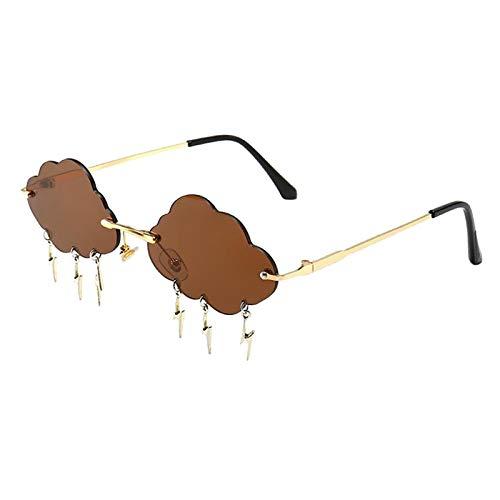 Hellery Gafas de Sol sin Montura para Mujer, Gafas de Sol con diseño novedoso, Gafas con Lentes teñidas - Marrón