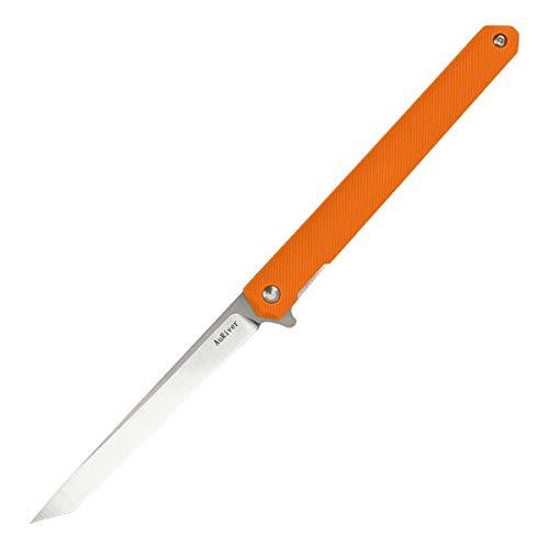 No band Klappmesser, Taschenmesser aus M390 Stahl mit Nylon Glasfasergriff, EDC Outdoor EinhandMesser mit Lederscheide für Survival, Geschenke, Sammlungen (Orange)