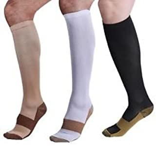 ACSocks.com Copper Compression Socks 20-30mmHg Graduated Men Women (3 Pairs) BLK White Nude (Variety Pack (1 of Each Color), S/M)