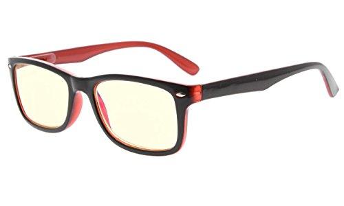 Eyekepper Computer Lesebrille,UV Schutz,Blendschutz,Entspiegelt Computer Leser (Schwarz rot, Gelb getönte Gläser) +2.75