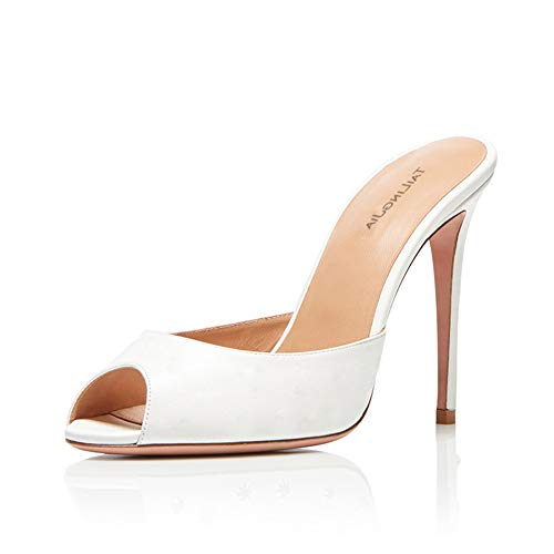Talons Aiguille Mules Sandales, MWOOOK-984 Escarpin Sexy 11~13CM - Chic Tendance - Grande Taille,White,37