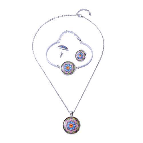 Happyyami 3Pcs Mandala Anhänger Halskette Ohrstecker Ohrringe Armband Armreif Mandala Blume Pflanze Armband Ohrstecker Halskette Schmuck Kristall Anhänger Mode Geschenk