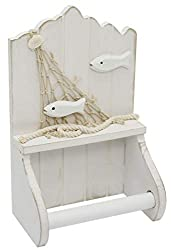 White Wooden Shabby Chic Nautical Bathroom Loo Roll Holder
