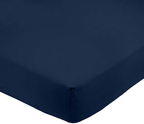 Amazon Basics FTD, Sábanas Ajustables, 160 x 200 x 30 cm, Azul Marino