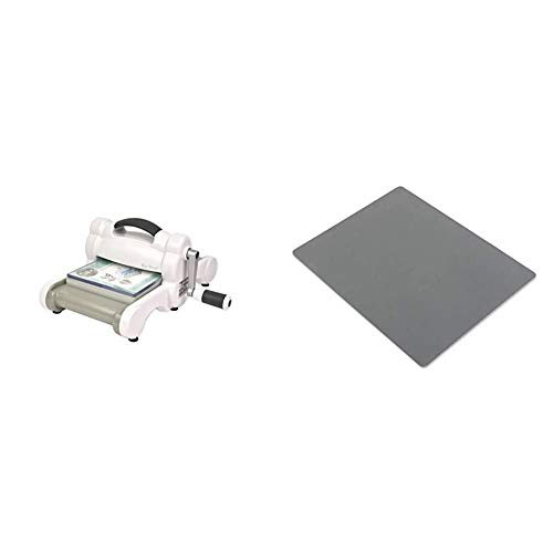 """Sizzix Big Shot 660200 Manual Die Cutting & Embossing Machine for Arts & Crafts, Scrapbooking & Cardmaking, 6"""" Opening,Big Shot Machine Only & Texturz Accessory - Silicone Rubber, Grey"""