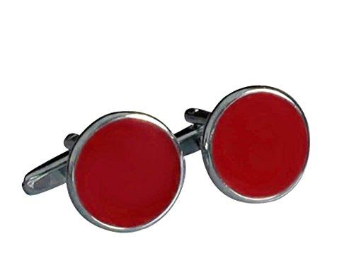 Unbekannt Runde Lack Manschettenknöpfe rot rund Plus Silberbox