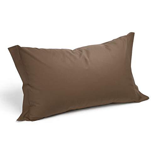 Par de fundas de cojín, puro algodón, varios colores, fabricadas en Italia, colores a elegir (marrón)