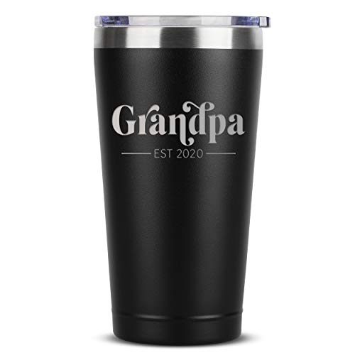 Grandpa Est. 2020-16 oz Black Insulated Stainless Steel Tumbler w/Lid for New Grandpas - First Time Grandfather Gifts Presents Ideas - Baby Pregnancy Announcement Fathers Day Christmas Gift Idea