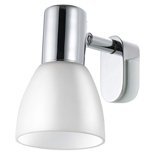 EGLO Spiegelleuchte, Stahl, E14, Weiß/Chrom, 7 x 9.5 x 11.5 cm 85832