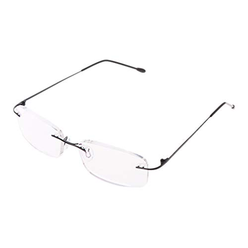 Hothap Herren Titanlegierung Ohne Rand Lesebrille, Rahmenlose Faltbrille Presbyopia Eyewear 1.0 Bis 3.5