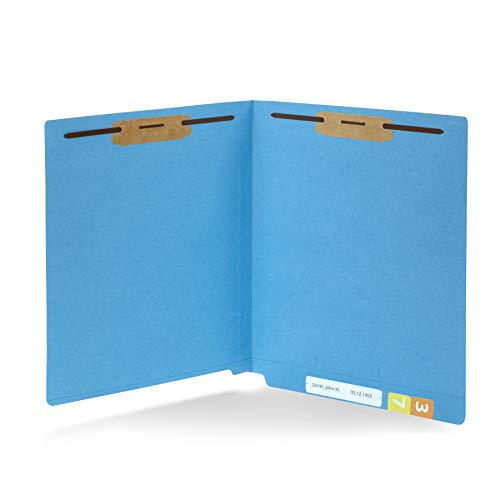 50 Blue End Tab Fastener File Folders - Reinforced Straight Cut Tab - Durable 2 Prongs Designed to Organize Standard Medical Files, Receipts, Office Reports - Letter Size, Blue, 50 Pack