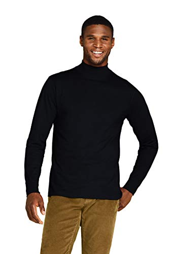 Lands' End Mens Long Sleeve Super-T Mockneck Black Tall X-Large
