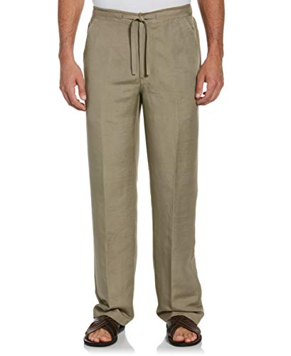 Cubavera Men's Drawstring Linen-Blend Pant with Back Elastic Waistband, Timber Wolf, Large x 30L