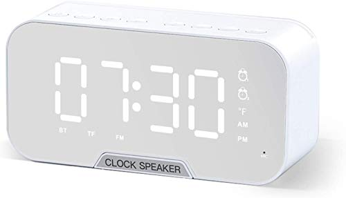 AIKON Digital Alarm Clock with USB Charger Dual Alarms with LED Mirror Display, FM Radio & Bluetooth Speakers Digital Clocks for Bedroom Mobile Holder 3.5 AUX Cable Input & 16G Micro SD Card Slot