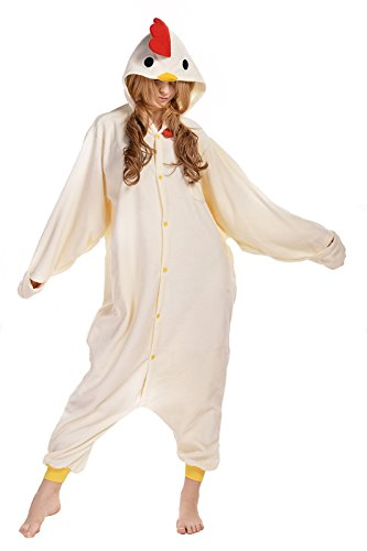 NEWCOSPLAY Unisex Adult White Chicken One- Piece Cosplay Animal Pajamas Halloween Costume (L)
