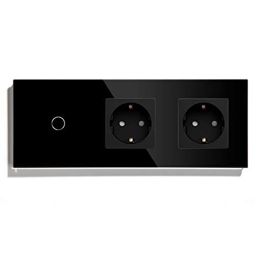 BSEED Lichtschalter 2-Wege-Schalter mit Steckdosen 1 Fach 2 Wege Schwarz Glas Touch-Panel 228mm
