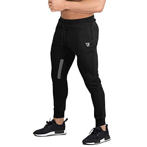 BROKIG Athletic Jogginghose Herren lang Jogging Hose - Jogginganzug für Männer Trainigshose Sporthose Sweatpants(Schwarz,M)