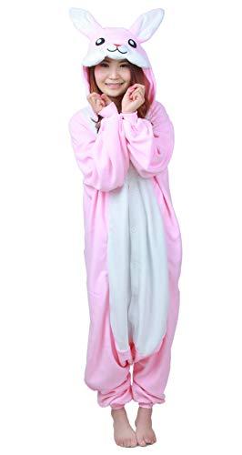Adulte Pyjama Animal Cosplay Kigurumi Unisexe Vêtements de Nuit Onesie Lapin Rose pour Hauteur 140-187 cm