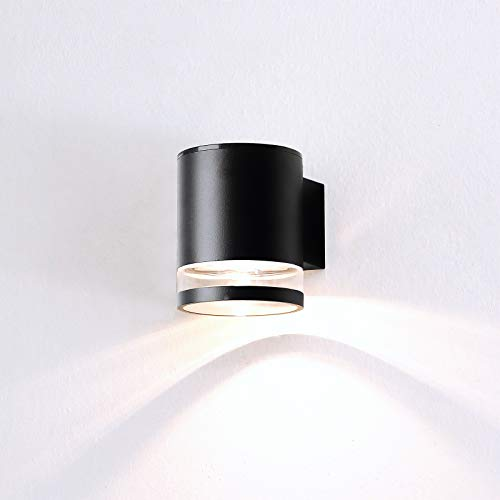 HLFVLITE Solarleuchten für Außen LED Solar Wandleuchte IP54 Wasserdicht Solarlampen Aluminium Sicherheitswandleuchte für Aussen, Garten, Haustür, Garage, Hinterhof Schwarz
