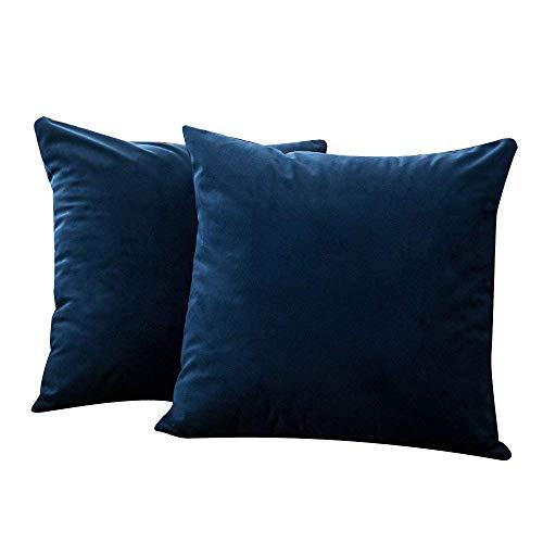 HINK-Home Almohadas, 2 piezas de terciopelo suave cuadrado, fundas de almohada juego de funda de cojín para sofá dormitorio coche, funda de almohada grande ventas azul oscuro, para el día de Pascua