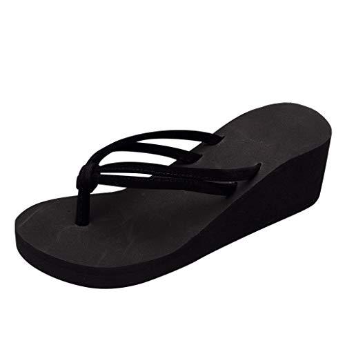 Xuthuly Sommer Strand Hausschuhe Frauen Mode Dicke Plattform Keil Schuhe Lässig Gestreifte Flip-Flops Einfarbig Sandalen