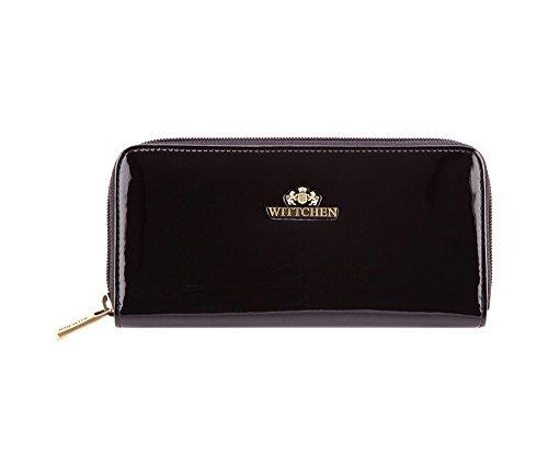 WITTCHEN Geldbörse aus Rindsleder | Kollektion: Verona | aus hochwertigen Materialien | elegant und klassisch | Schwarz | 19x9 cm